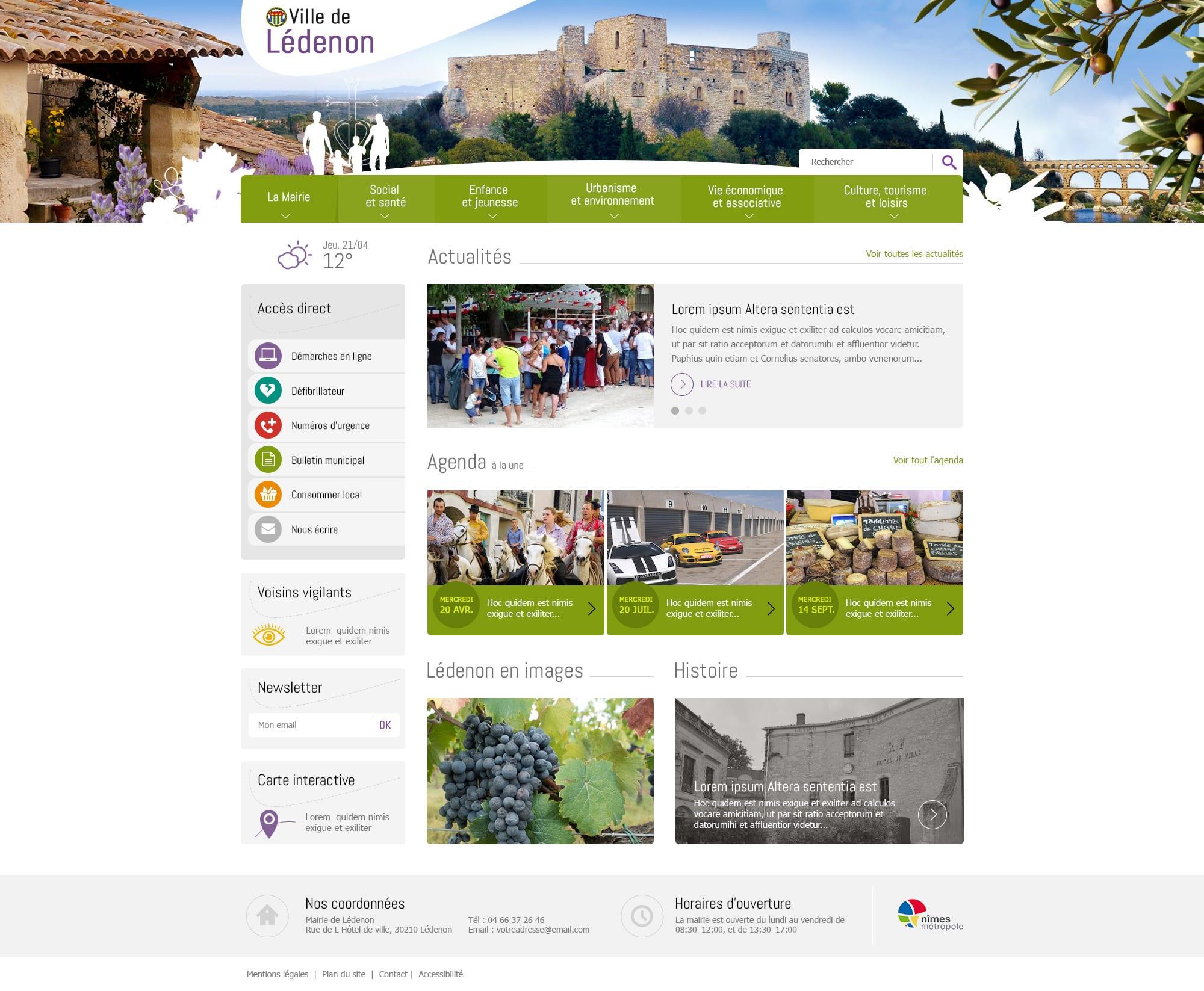 Mairie de Lédenon - étude de la page d'accueil